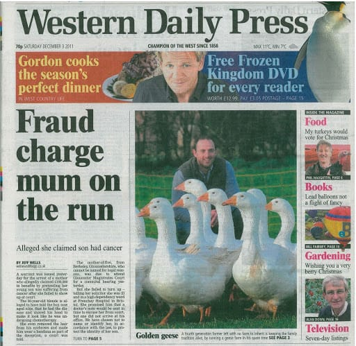 Farmer breeds geese as first solo venture – Western Daily Press 3rd Dec